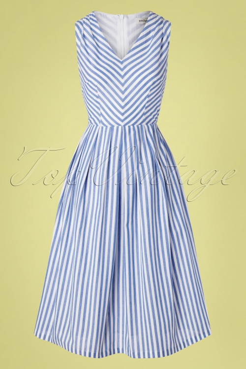 Emily And Fin 27705 Josie V Neck Blue Striped Dress 20190426 002W