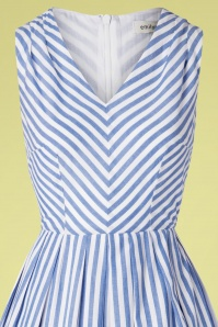 Emily And Fin 27705 Josie V Neck Blue Striped Dress 20190426 002V