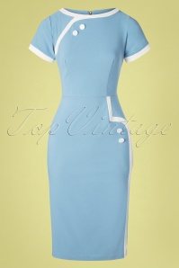 50s Joanie Pencil Dress in Light Blue