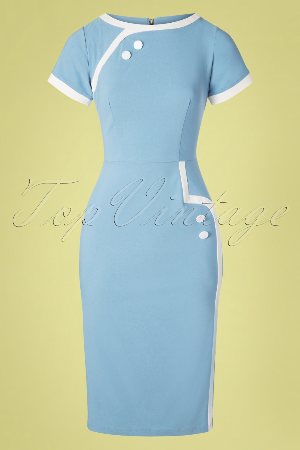 Vintage Cruise Outfits, Vacation Clothing 50s Joanie Pencil Dress in Light Blue �107.19 AT vintagedancer.com