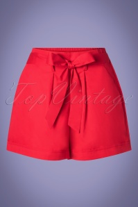 50s Soren Tie Shorts in Lipstick Red