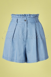 50s Alda Chambray Paper Bag Waist Shorts in Denim Blue