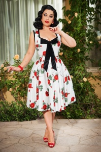 The Ida Swing Dress in White Roses