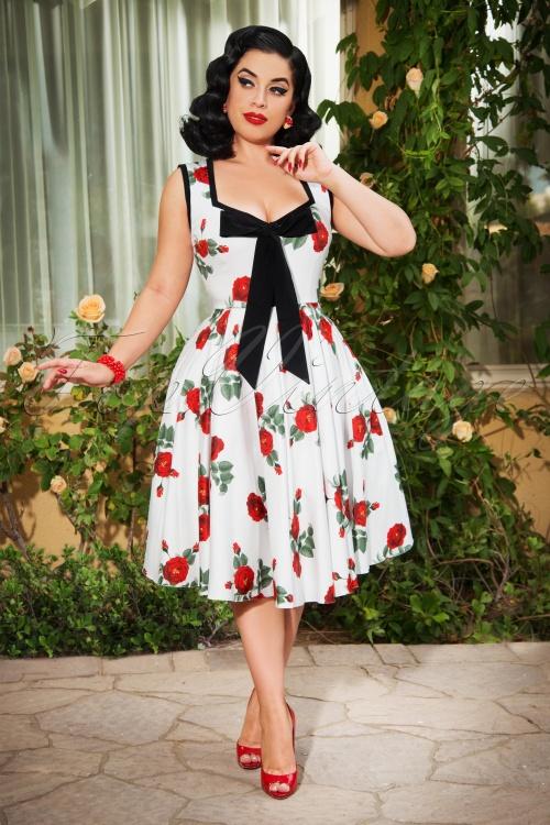 Vintage Diva 28844 Ida Swing Dress White Roses 20190426 3W
