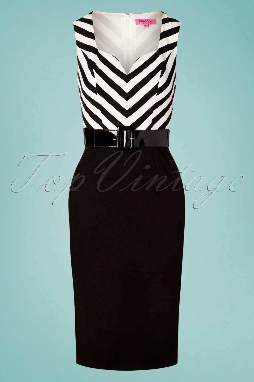 Wiggle Dresses | Pencil Dresses 40s, 50s, 60s 50s Café Pencil Dress in Black and White �85.74 AT vintagedancer.com
