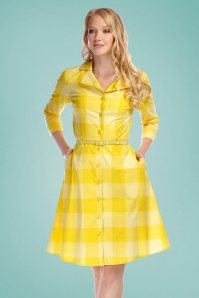 Collectif 27474 margherita sun check swing dress yellow 20190429 020LW