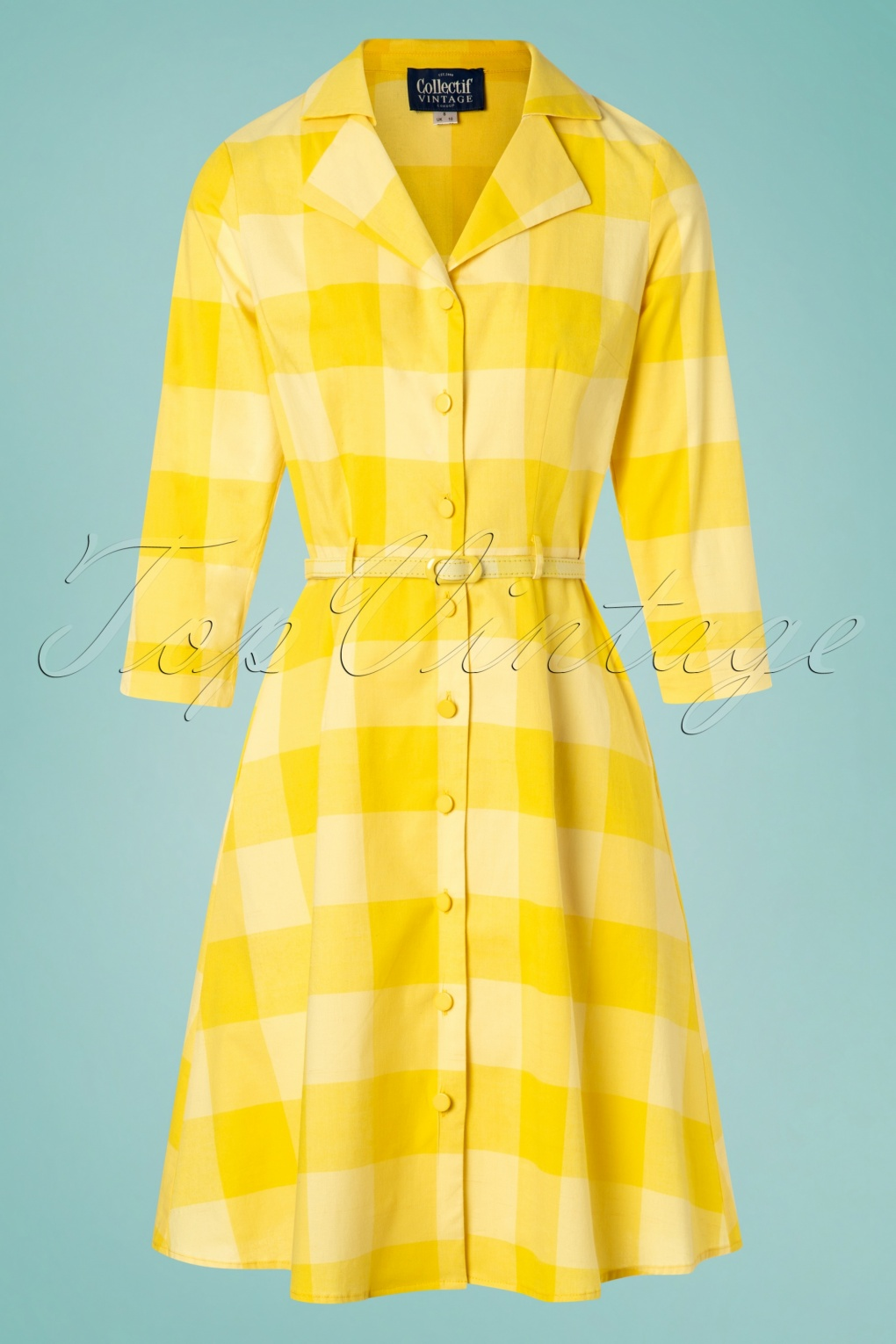 1960s Style Dresses, Clothing, Shoes UK 60s Margherita Sun Check Dress in Yellow �79.41 AT vintagedancer.com