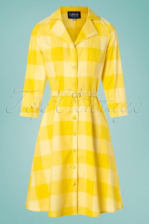 Collectif Clothing 27474 Margherita Sun Check Swing Dress 20180816 004W