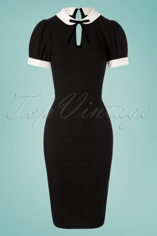 Collectif Clothing 27459 Khloe Plain Pencil Dress in Black 20180815 001W