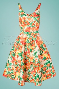 50s Cast Away Floral Romper Set in Orange