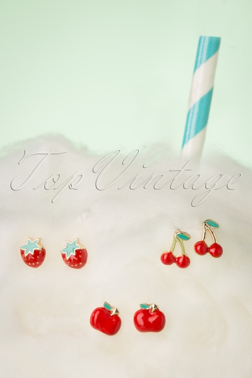 Louche 27986 Earrings Red Gold Green Cherry Strawberry Apple 20190429 016 W