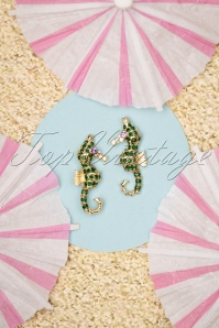 50s Sea Horse Stud Earrings in Gold