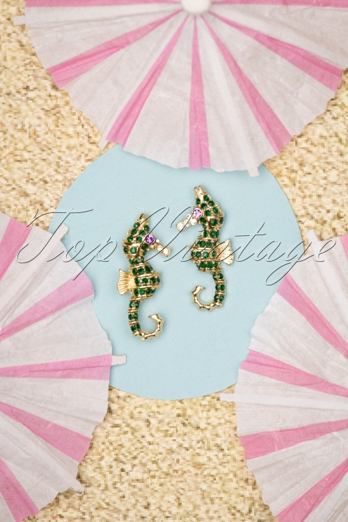 Louche 27981 Earrings Green Gold Seahorse 20190429 006W
