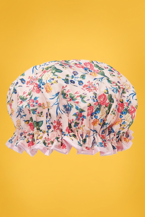 Vintage Cosmetic 30763 Showercap Floral Pink Blue Green 20150805 013