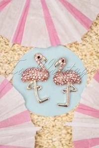 Flamingo Stud Earrings Années 50 en Doré