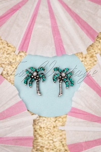 50s Palm Tree Stud Earrings in Silver