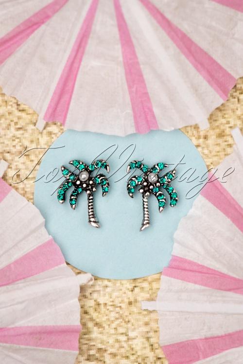Louche 27979 Earrings Palmtree Green Pearl 20190429 006W