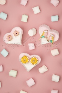 Louche 27980 Earrings Green Gold Yellow Pink Flower Bird 20190429 010 W