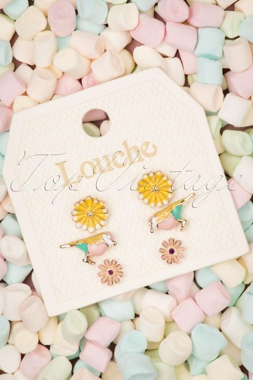 Louche 27980 Earrings Green Gold Yellow Pink Flower Bird 20190429 003 W