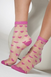 50s Pretty Sheer Heart Ankle Socks in Pink