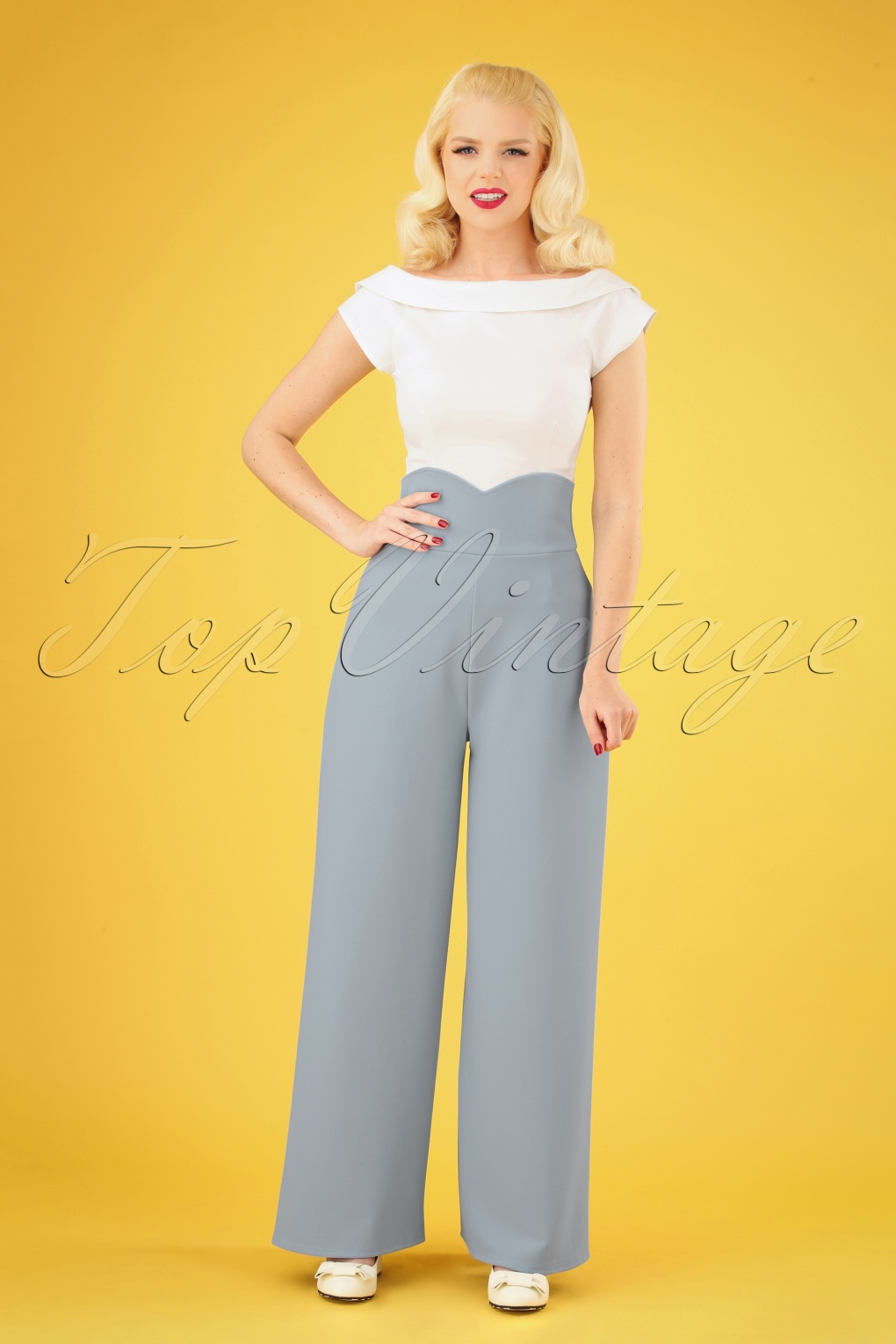 1940s Dresses and Clothing UK | 40s Shoes UK 40s Marlene Trousers in Dusty Blue £30.56 AT vintagedancer.com