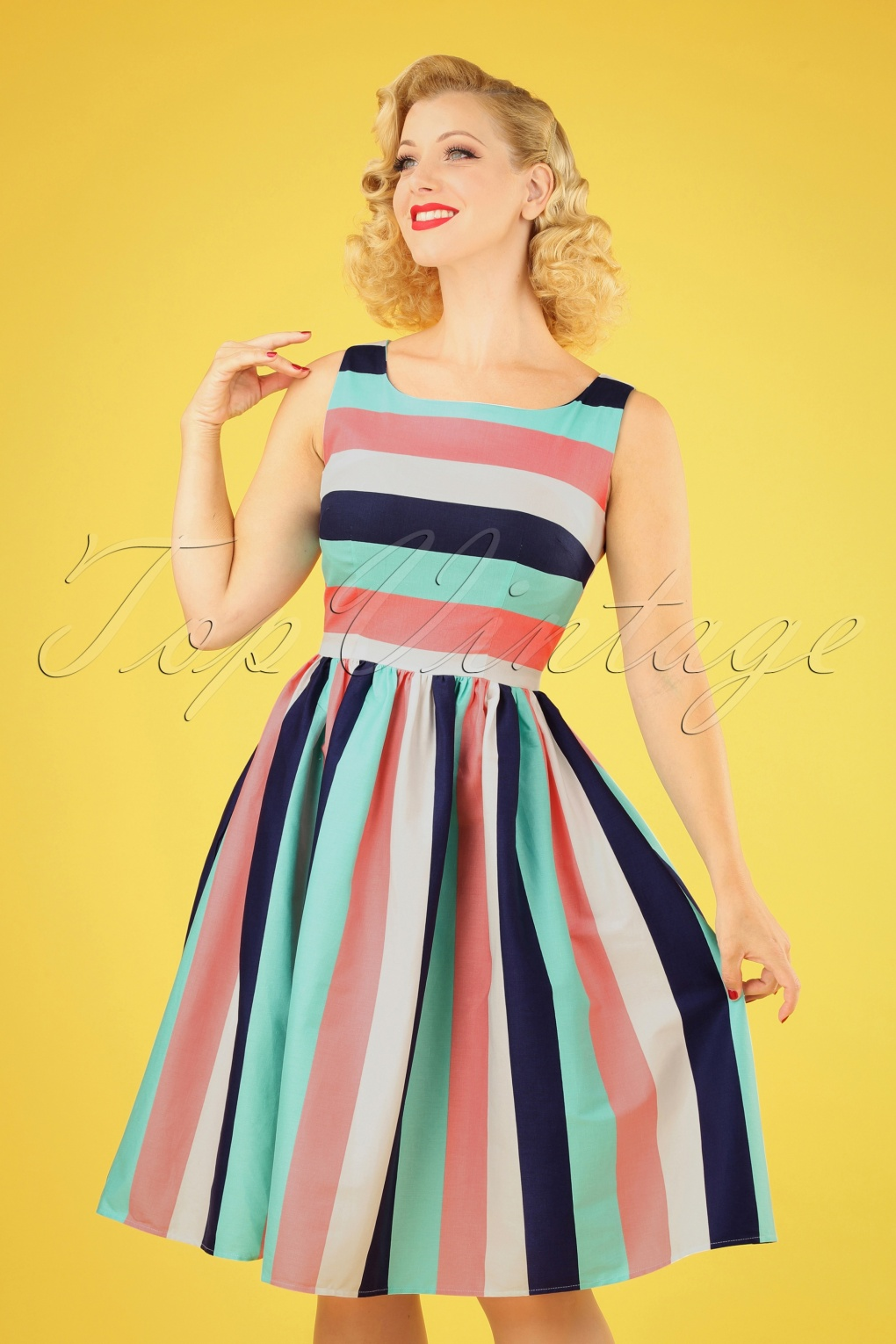 1960s Style Dresses, Clothing, Shoes UK 50s Candice Striped Swing Dress in Seaside Stripes �56.58 AT vintagedancer.com