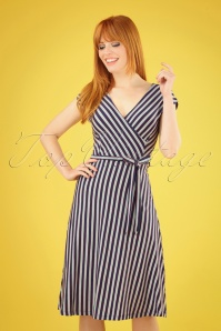 70s Mira Scope Dress in Rimini Stripe Blue