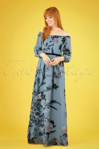 70s Rori Floral Maxi Dress in Blue
