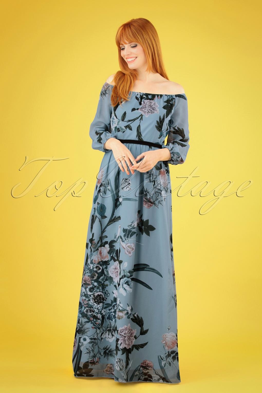 70s Dresses – Disco Dresses, Hippie Dresses, Wrap Dresses 70s Rori Floral Maxi Dress in Blue �97.06 AT vintagedancer.com