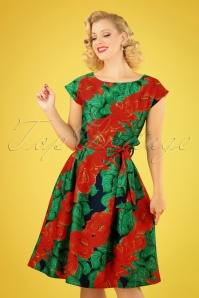 50s Beatrice Camellia Swing Dress in Red and Green
