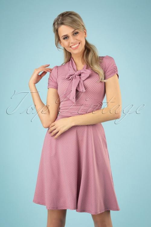 Retrolicious 29676 Pindot Bow Swing Dress 20190222 003 020W