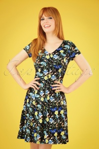 Stacy Floral Swing Dress Années 60 en Noir