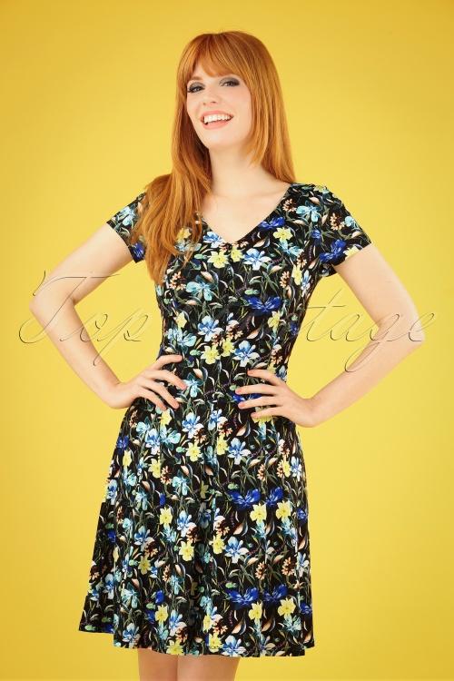 Smashed Lemon 27758 Black and Floral Pencil Dress 20190208 040MW