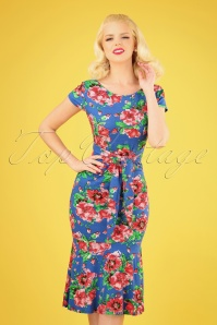 50s Beau Floral Pencil Dress in Blue