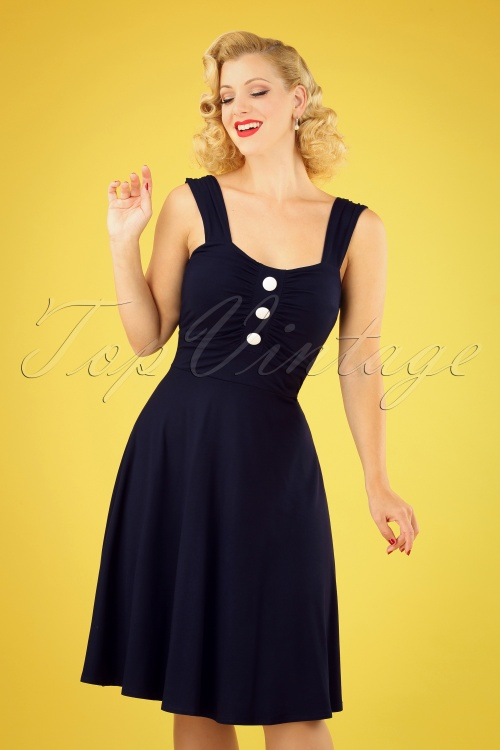 TopVintage Boutique Collection 29039 Navy Sleeveless Dress 20190404 040MW