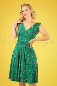 50s Grecian Floral Dress in Emerald Green