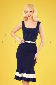 Mia Pencil Dress Années 50 en Bleu Marine
