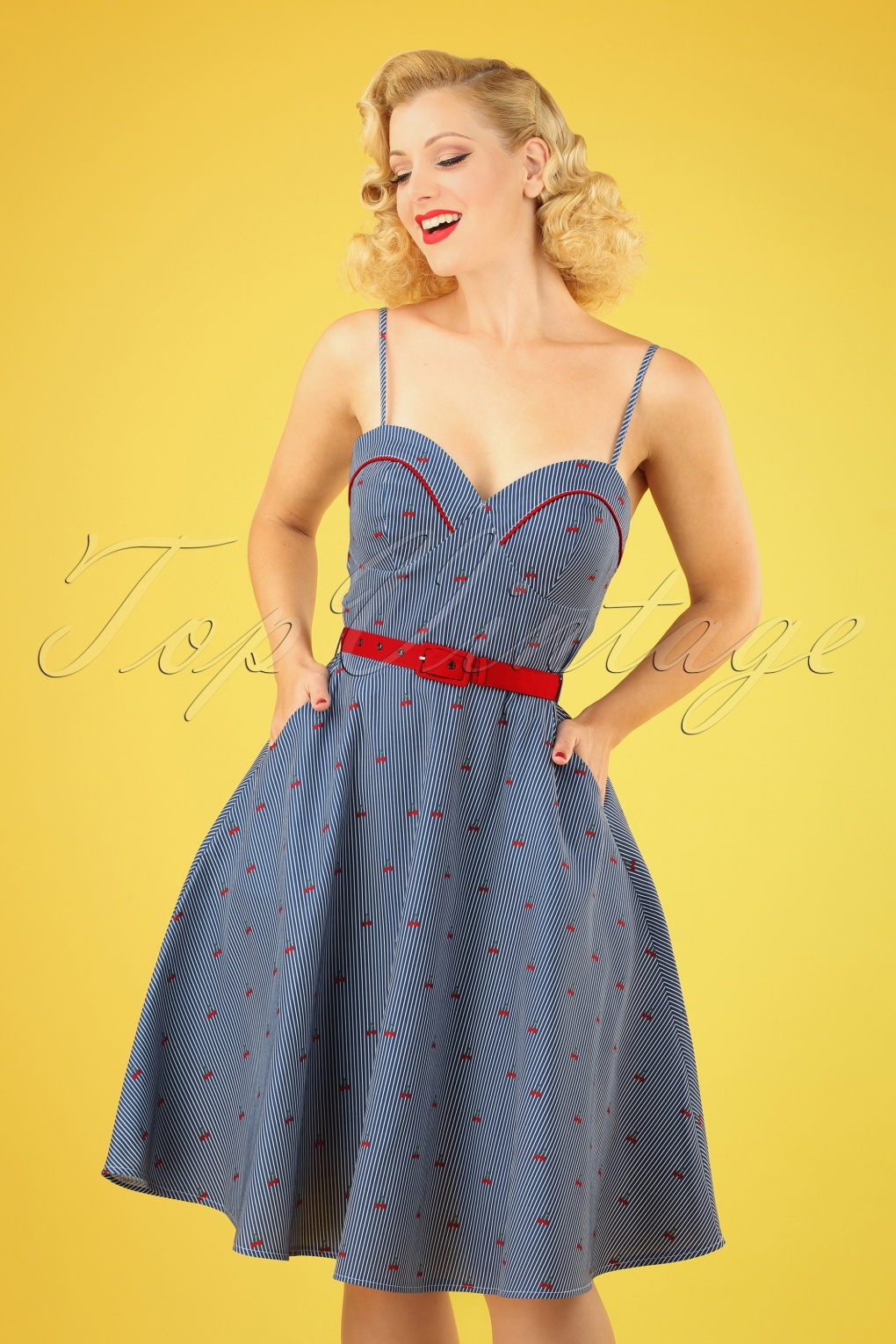Sailor Dresses, Nautical Theme Dress, WW2 Dresses 50s Shelley Cherry and Stripes Flared Dress in Blue �47.68 AT vintagedancer.com