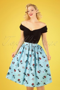 50s Harper Kitty Swing Skirt in Light Blue