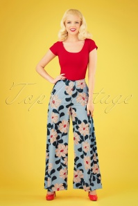 70s Emanuel Floral Trousers in Light Blue