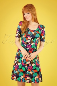 60s Britt Papercut A-Line Dress in Multi