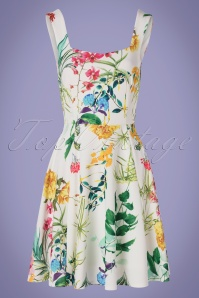 50s Fridah Floral Swing Dress in White