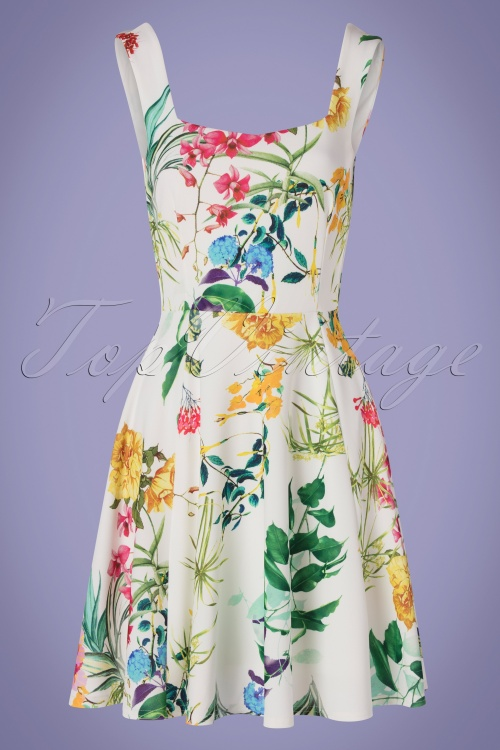 Vintage Chic 30381 Swingdress White Floral 010519 0002W