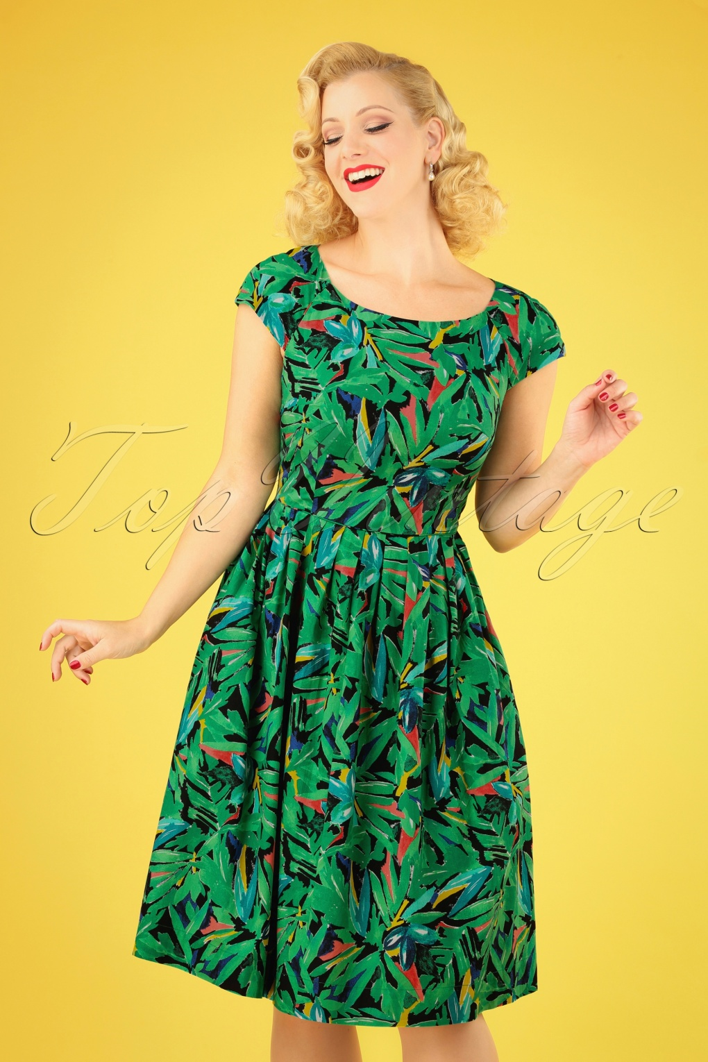 New Fifties Dresses | 50s Inspired Dresses 50s Claudia Hothouse Palms Swing Dress in Multi £56.54 AT vintagedancer.com