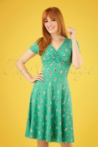 60s Hot Knot Summer Dress in Ice Ice Baby Green