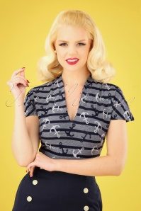 Miss Candyfloss 50s Noemie Anchor Top in Navy