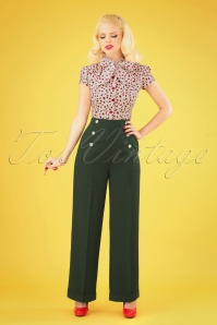 40s Adventures Ahead Button Trousers in Forest Green