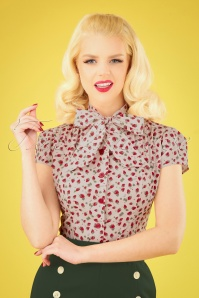 50s Estelle Strawberry Blouse in Ivory
