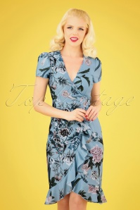 50s Rori Floral Wrap Dress in Blue