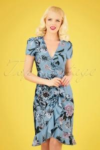 Little Mistress 27815 Blue Floral Pencil Dress 20190404 040MW